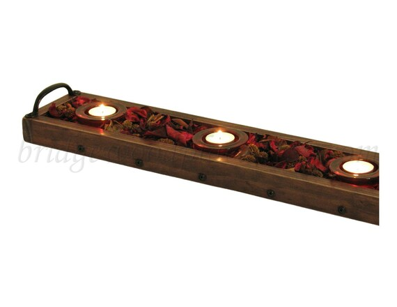 Wood candle tray long wooden table centerpiece by