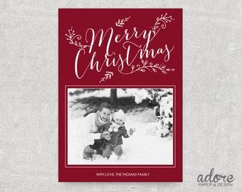 Whimsical Merry Christmas - Christmas / Holiday Printable Photo Card - Choose your background color!