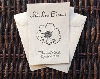 Let Love Bloom /// Kraft Paper Flower Seed Favor Envelopes /// Wedding or Baby/Bridal Shower