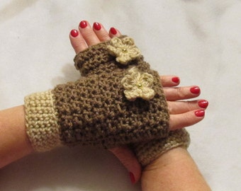 Handwarmers....Fingerless Gloves....with a Fabulous Flower...Brown and Tan