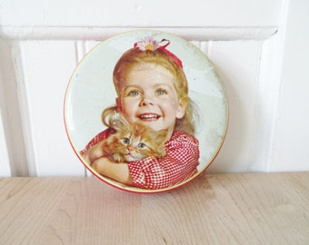 Vintage Hollands Toffee Tin with a Little Girl and Orange Tabby Kitten