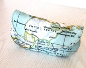 World map,travel ,mint green cotton fabric eyeglasses case,sunglasses case,fabric case,pouch