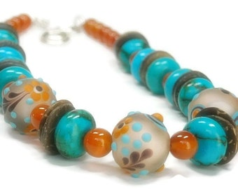 Turquoise Necklace, Turquoise Jewelry, Carnelian Necklace, Lampwork Glass Jewelry, Orange, Turquoise, Brown, Bohemian, Genuine Turquoise
