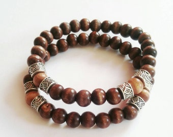 Dark brown wood stretch beaded bracelet with light wood  and silver accent