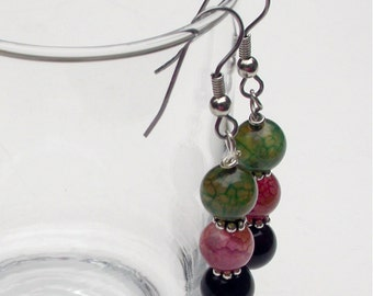 Drop, Dangle Earrings with Pink, Green and Brown 8mm Dragon Vein Beads, Silver Spacers and Silver Ear Wires, Mother's Day Gift