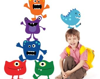 Monsters Wall Decals Non-toxic REUSABLE Fabric Wall Decals A117