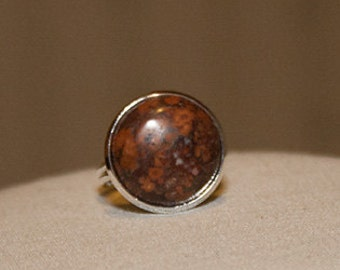 Leopardskin Jasper Ring Jasper Gemstone Ring Adjustable Stone Ring Brown Stone RIng Leopardskin Gemstone Ring