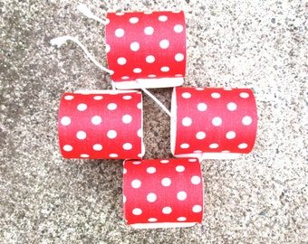 Vintage Napkin Rings Red Polka Dot Red White Breakfast Farmhouse 4 Four Cute Table Setting Dotty Speckled Pointed