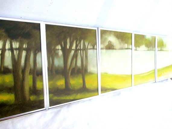RESERVED for RENA Vintage 1975 Mid Century Mod Oil Painting Series Modern Original Signed Trees Nature Landscape Sequence