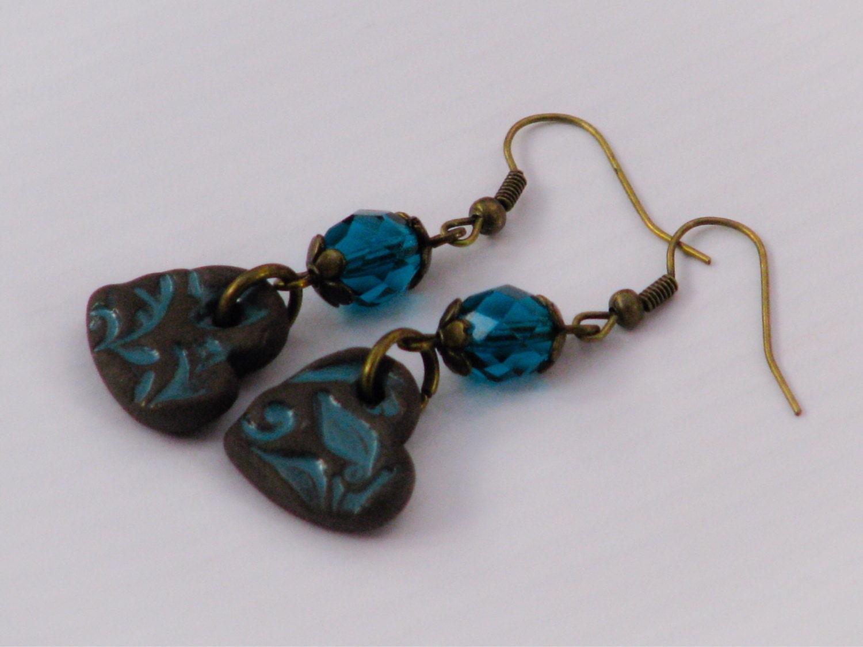 teal and chocolate earrings ceramic teal glazed chocolate