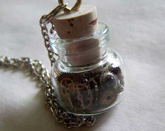 Steampunk Watch Works Miniature Glass Bottle Pendant