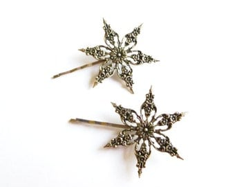 Winter Wedding Accessories Silver Snowflake Bobby Pins Snow Flake Hair Clips Bride Bridesmaid Nature Christmas Holidays Womens Gift For Her