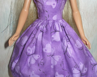 """Handmade 11.5""""fashion doll clothes - purple butterfly dress"""