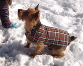 Brown Turquoise and Black Plaid Coat- Size Small 12 to 14 Inch Back Length - Or Custom Size