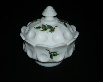 Vintage Westmoreland Milk Glass Thumbprint Design Hand Painted Holly Berry Footed Covered Candy Dish