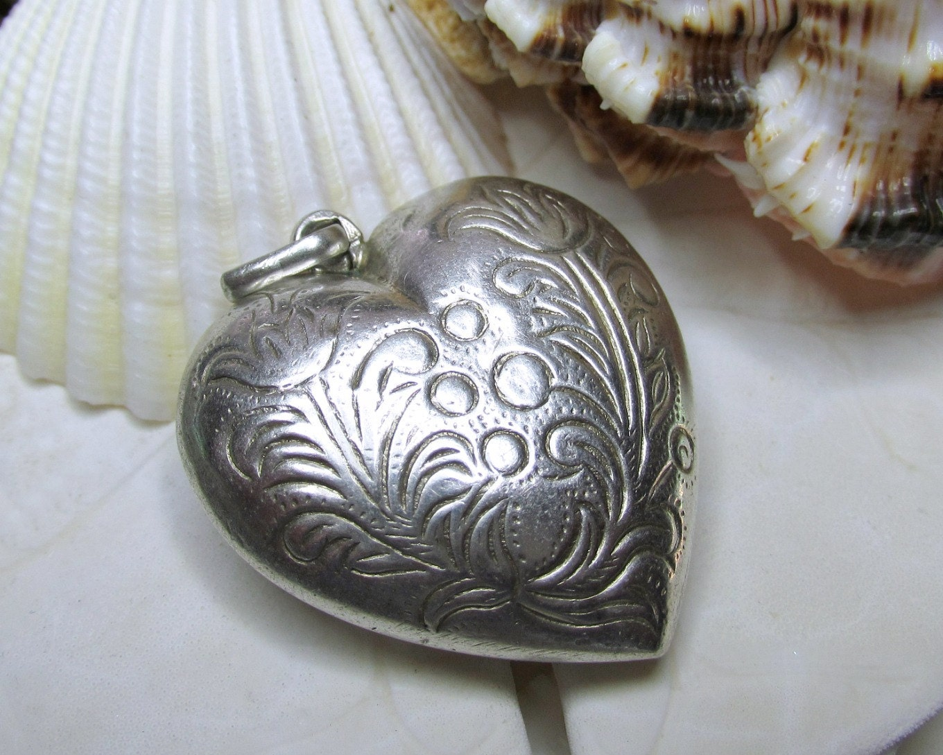 Sterling Silver 3D Puffy Etched Heart Pendant By