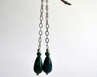 Green Drop Earrings - Green Stone Drop Earrings - Long Green Earrings  - Dangle Green Earrings