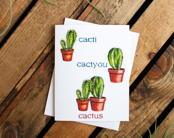 Cactus Notecard (greeting card, blank interior for thank you, get well, thinking of you, friendship, humor, valentines)