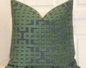 Decorative Pillow Cover - Green and Navy - Trellis Pillow - Lattice - Geometric - Chenille - Sofa Pillow - Chair Pillow