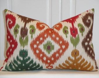 Decorative Pillow Cover - 12 x 18  Duralee - IKAT - Red - Green - Blue - Brown - Orange - Lumbar Pillow