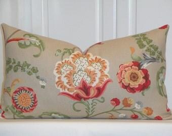 FREE SHIPPING - Decorative Pillow Cover - Kravet Floral - Green - Tan - Pale Blue - Orange Pillow - Cushion - Sofa Pillow - Bed Pillow