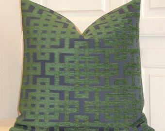 Decorative Pillow Cover - Green and Navy - Trellis Pillow - Lattice - Geometric - Chenille - Sofa Pillow - Chair Pillow