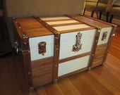 Oak  and Canvas Steamer Trunk
