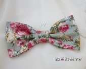 Shabby Chic Floral Clip On Bow Tie Pink Rose Dusty Green Adult Men Boy Baby Toddler Kid Children Pre Tied Party Gift Wedding Groom Groomsmen