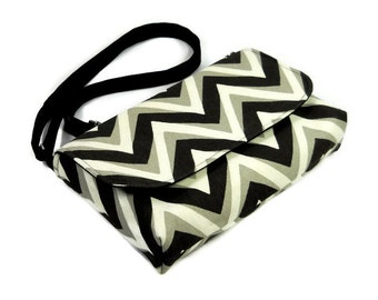 Small Canvas Messenger Bag For Women, Black Chevron Cross Body Bag, Fabric Pocketbook, Mini Purse in Black, White Gray, Crossbody Purse