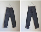 vintage 1940s jeans - INDIGO high waisted denim pants / XS / deadstock
