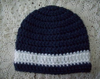 Hand Crochet Navy Blue and White HAT BEANIE  Infant Toddler Baby