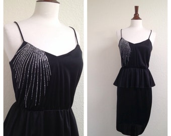 vintage bombshell peplum black dress S