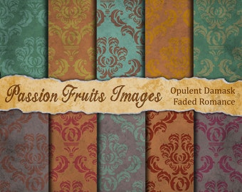 Faded Romance Damask Digital paper Pack- ten Images- Instant Download