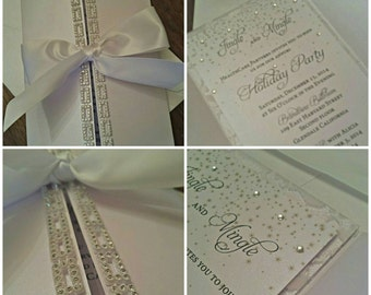 Crystal Wedding Invitation -- White on White Invitation -- Elegant Wedding Invitation