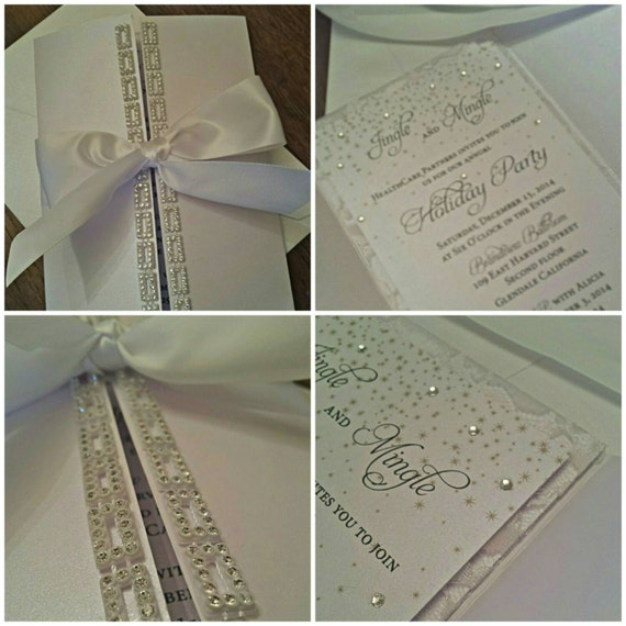 crystal wedding invitation white on white invitation