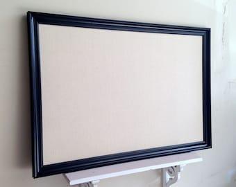 BULLETIN BOARD Modern Black Cream Desk Organizer Magnetic Board Wall Decor Mudroom Decor Large Bulletin Board Framed Office Memo Board