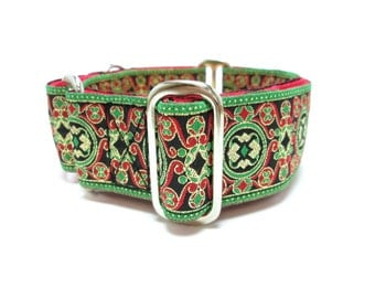 """Houndstown 1.5"""" Christmas Decadence Unlined Martingale Collar Size Small, Medium, or Large"""