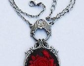 Ruby rose  victorian cameo gothic necklace