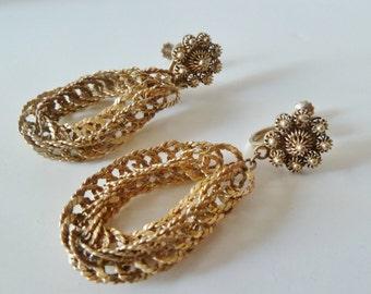 Alpaca Rope Earrings, Gold Chain Screw back earrings, Vintage Mexico Jewelry,