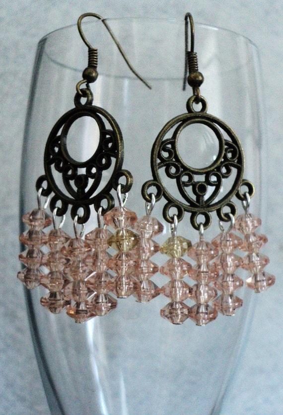Boho Earrings, Bohemian Earrings, Chandeleir Earrings, Bohemian Jewelry, Gypsy Earrings, Gypsy Jewelry, Pink Champagne, Dangle Earrings