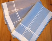 Set of 3 Assorted Color Fine Cotton Mens Handkerchiefs, Style No. 2028 with Monogram Style No. 3