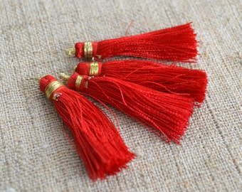 4pcs Tassel Charms Silk Imit Red Colors 2 Pairs 1 3/4 inches