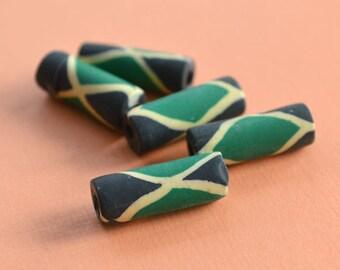 4pcs Flag Beads Jamaica 7x18mm Polyclay Polymer Clay Jamaican Jewelry