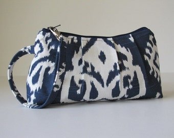 Wristlet Clutch, Zipper Pouch, Bridesmaid Gift Idea, Gift For Her, Under 25, Holiday Gift Idea  - Raji in Navy