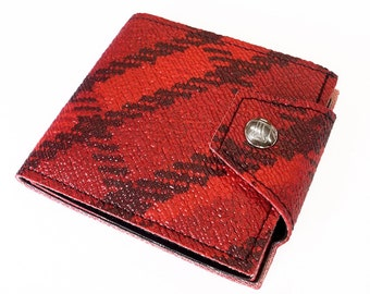 Red Plaid Woodland Mens Billfold Wallet - Made of 70s Vintage American Truck Bench Vinyl - w Changepocket