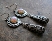 Fire Opal Glass and Filigree Earrings in Silver,  Exclusive Design by Enchanted Lockets
