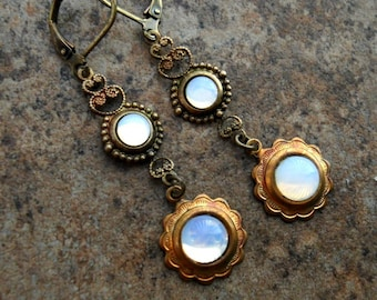 Victorian Glass White Opal and Brass Dangle Earrings, Victorian Glass Moonstone Brass Earrings