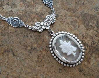 READY TO SHIP Glass Intaglio Rose Pendant, Clear Glass Rose Necklace, Original Design by Enchanted Lockets