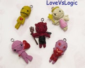 5 Voodoo Doll Plastic Charms. Mix Styles