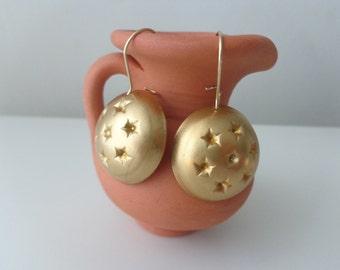 Brass dangle earrings, star earrings
